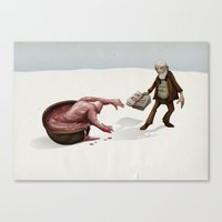 evolution Canvas Prints featuring Evolution by Lee Grace Illustration