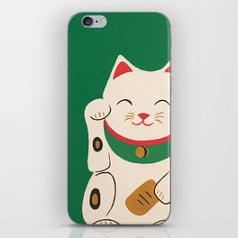 Green Lucky Cat Maneki Neko iPhone Skin