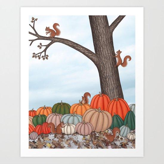 heirloom pumpkins, squirrels, & the oak tree Art Print