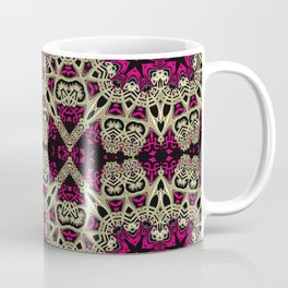 Hot Pink  + Hexagon Gold Star Coffee Mug