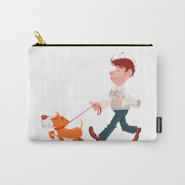 A man walking with his dog Carry-All Pouch