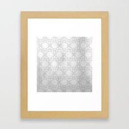 Silver and gray geometric pattern metallic look Framed Art Print