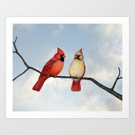 cardinal couple Art Print