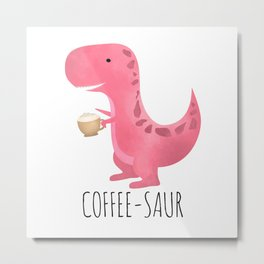 Coffee-saur | Pink Metal Print