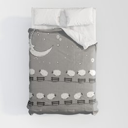 Sheep Well #5 (Gray) - Sheep Jumping Fences - Counting Sheep Comforters