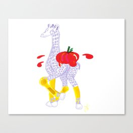 Thanksgiving Food Fight Tomatoe - Midas is Ready - Christmas Lavender Giraffe Canvas Print
