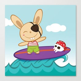 Bunny Surfer Canvas Print