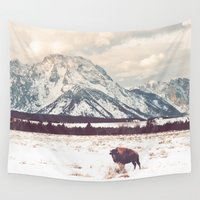 bison Wall Tapestries featuring Bison & Tetons by Annie Bailey