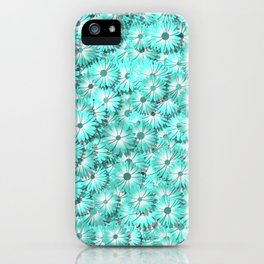 Teal daisy flowers iPhone Case