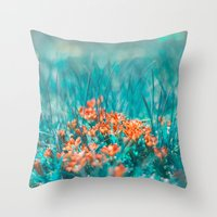 mint Throw Pillows featuring Mint by SensualPatterns