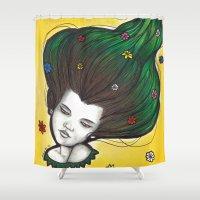 flora Shower Curtains featuring Flora by Melanie Arias