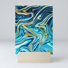 Ocean Gold Marble #1 #decor #art #society6 Mini Art Print