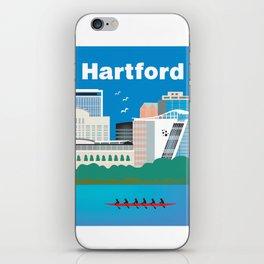 Hartford, Connecticut - Skyline Illustration by Loose Petals iPhone Skin