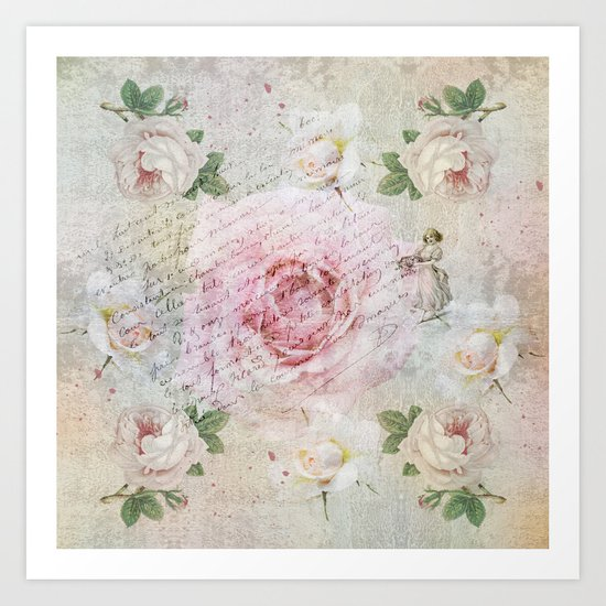 Romantic vintage roses and French handwriting Art Print