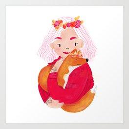 Girl With Fox In Fall Art Print