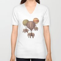 vintage flowers V-neck T-shirts featuring Flight of the Elephants  by Terry Fan