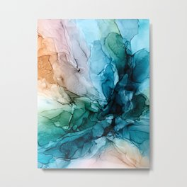 Salty Shores Abstract Painting Metal Print