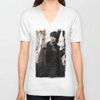model V-neck T-shirts featuring Model by Michael Larkin