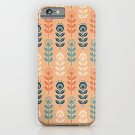 SCANDI GARDEN 01-9, multicolor on dusty orange iPhone Case