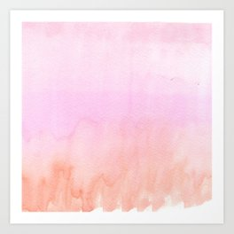 Abstract blush pink coral orange watercolor ombre Art Print