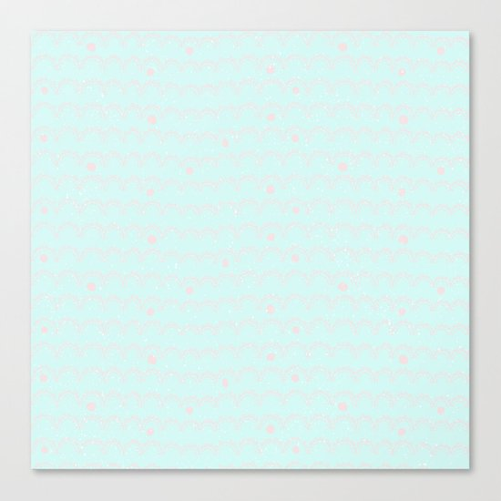 Merry aqua christmas - Funny abstract lines and dots on turquoise backround Canvas Print