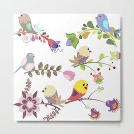 Birds and flowers Metal Print