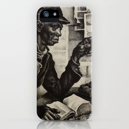 Classical Masterpiece 'The Instruction' by Thomas Hart Benton iPhone Case