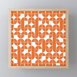 Mid Century Modern Geometric Pattern Orange Framed Mini Art Print