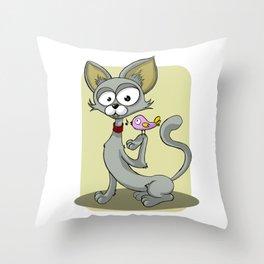 Grey Cat and A Singing Bird Throw Pillow