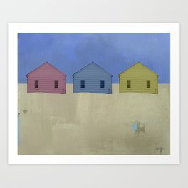 Beach Cottages, colorful houses, coastal, row houses Art Print