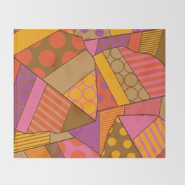 Graphic Leaf Patchwork (Fall Bold Colors) Throw Blanket