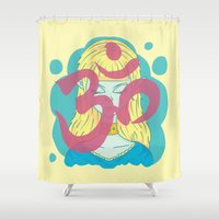 om Shower Curtains featuring Om by Monstruonauta