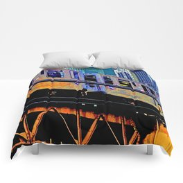 Chicago 'L' in multi color: Chicago photography - Chicago Elevated train Comforters
