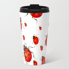 RED LADY BUGS  SWARM  ON WHITE COLOR Travel Mug