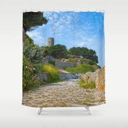 Once Upon a Guernsey Path Shower Curtain