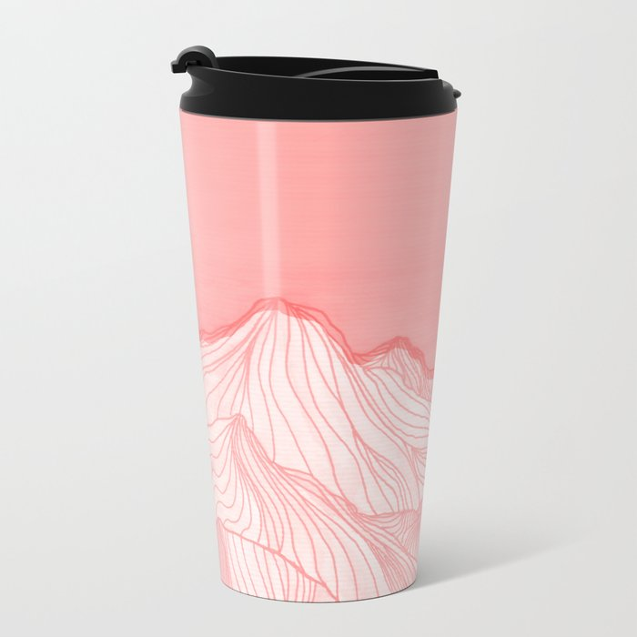 Lines in the mountains - pink Metal Travel Mug