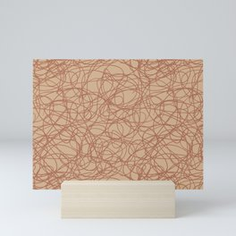 Cavern Clay SW 7701 Thick Hand Drawn Scribble Mosaic Pattern Creamy Off White SW7012 Mini Art Print
