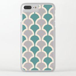 Classic Fan or Scallop Pattern 419 Gray and Teal Green Clear iPhone Case