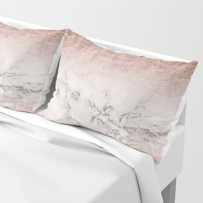 Modern faux rose gold glitter and foil ombre gradient on white marble color block Pillow Sham