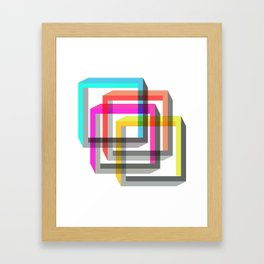 Colorful impossible 3D shapes overlapping. Framed Art Print