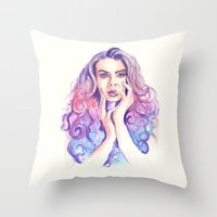 cara delevingne Throw Pillows featuring Cara Delevingne by Binkfloyd