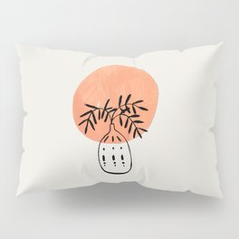 Tan Sunset Ancient Vase Minimalist Mid Century Modern Line Drawing Paper Collage by Ejaaz Haniff Pillow Sham