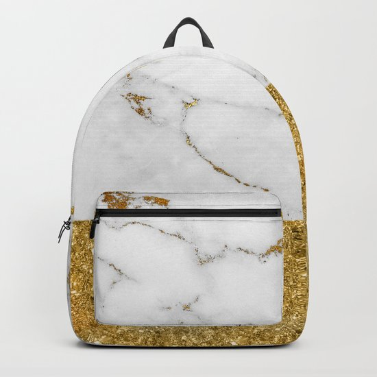 Luxury and glamorous gold glitter and white and gold marble Backpack
