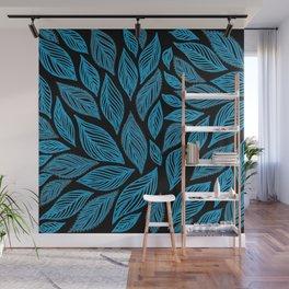 Blue Grey Leaves Pattern on Black Wall Mural