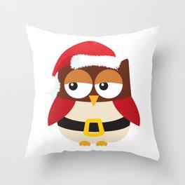 Santa Claus Owl Illustration Throw Pillow