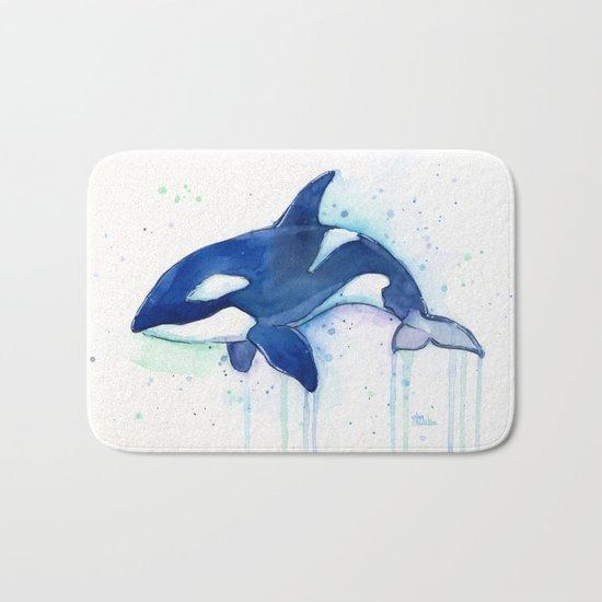 Killer Whale Orca Watercolor Painting Animal Art Bath Mat