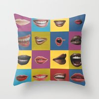 lip Throw Pillows featuring Lip Pop by wrkdesigns