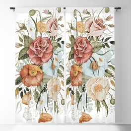 Roses and Poppies Blackout Curtain