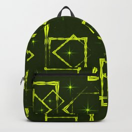 Yellow diamonds and squares at the intersection with the stars on a mustard background. Backpack