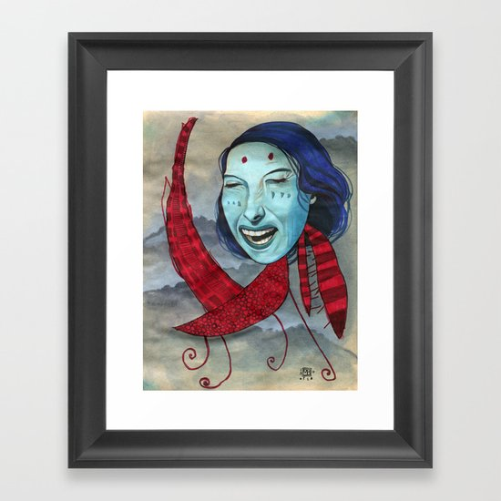 Crying Red Dragon Framed Art Print